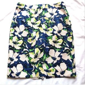 J CREW TROPICAL FLORAL WATERCOLOR PENCIL SKIRT.